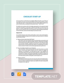 Checklist Start-Up Template