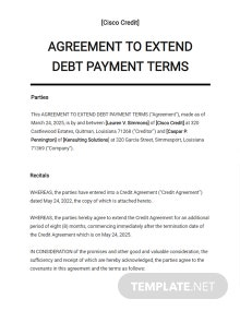 Agreement to Extend Debt Payment Terms Template