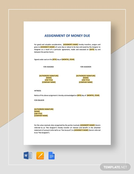 Assignment of Money Due Template