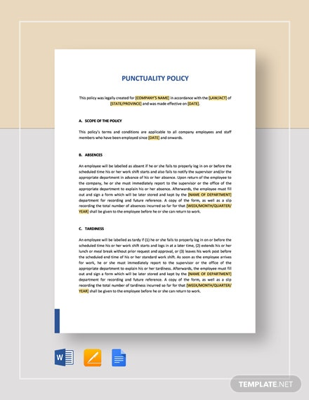 Punctuality Policy Template