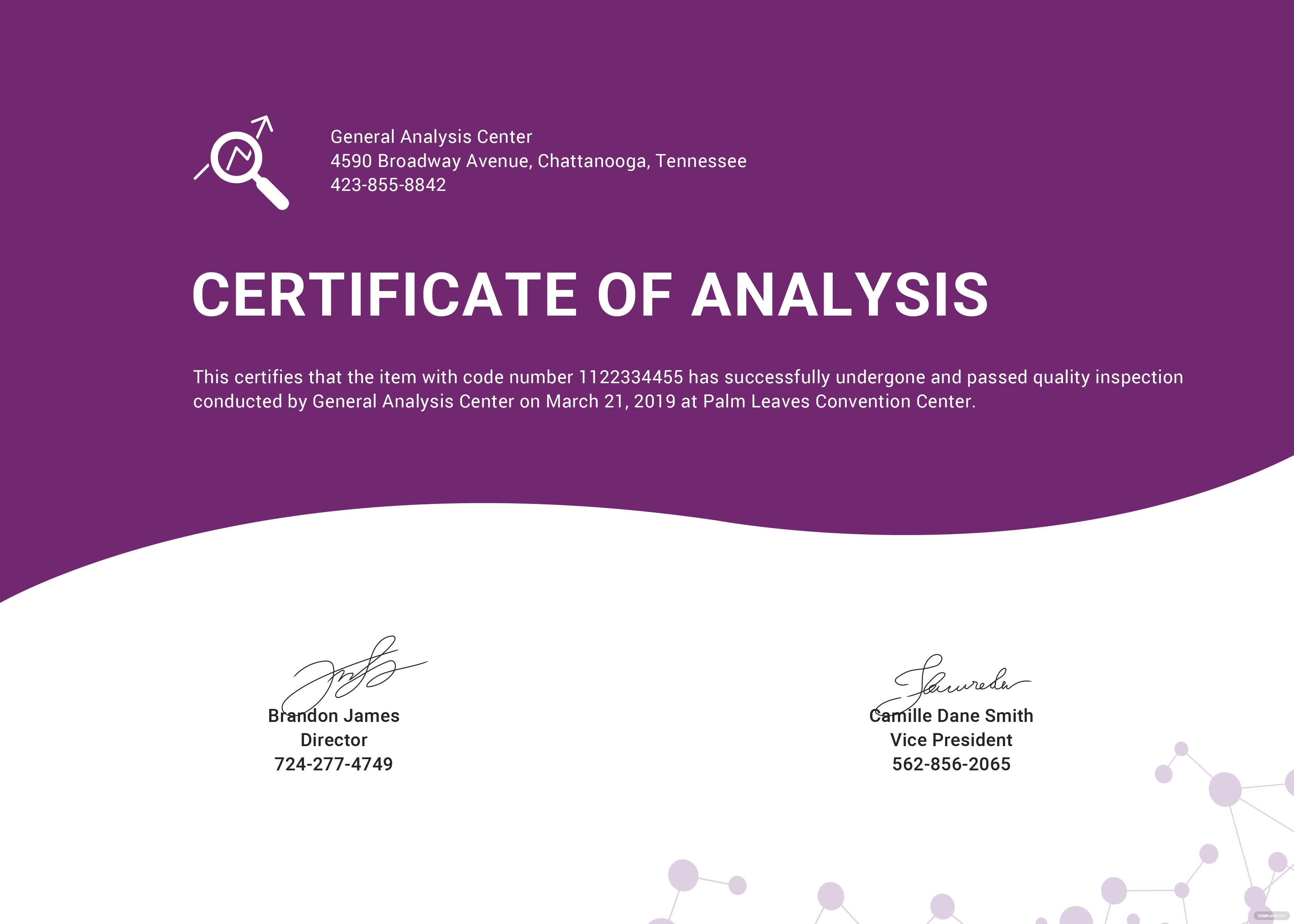 Certificate of analysis template in psd ms word publisher certificate of analysis template alramifo Image collections