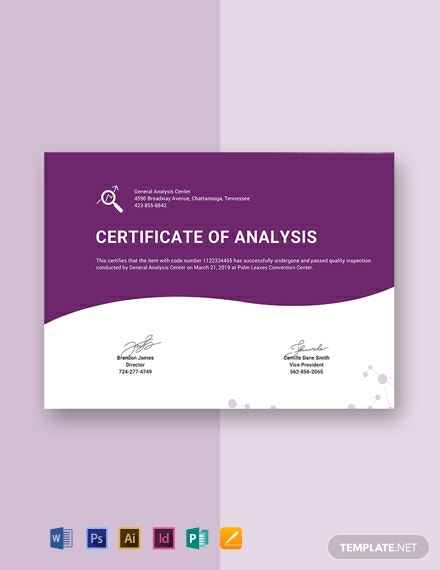 Free Certificate of Analysis Template