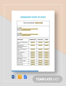 Worksheet Start-Up Costs Template