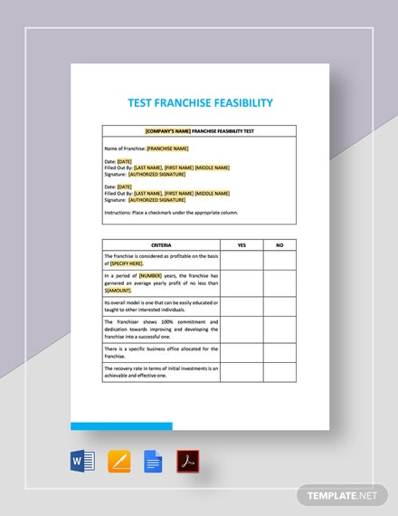 Test Franchise Feasibility Template