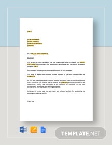 Notice and Tender by Debtor Template