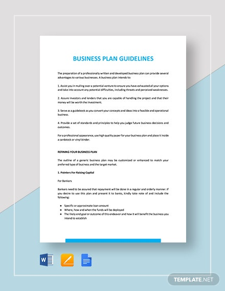 Business Plan Guidelines Template