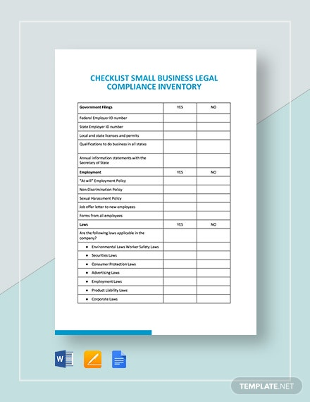 Checklist Small Business Legal Compliance Inventory Template