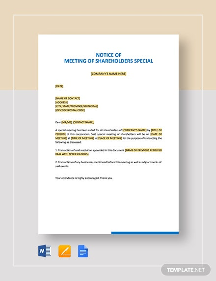 Notice of Meeting of Shareholders Special Template