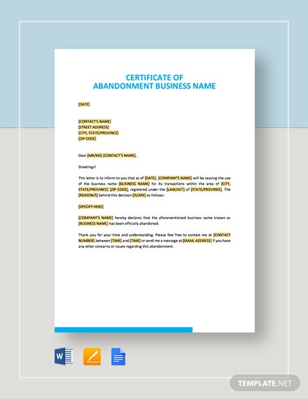 Certificate of Abandonment Business Name Template