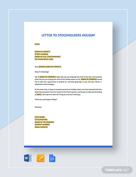 Letter to Stockholders Holiday Template