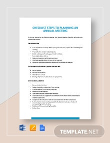 Checklist Steps to Planning an Annual Meeting Template