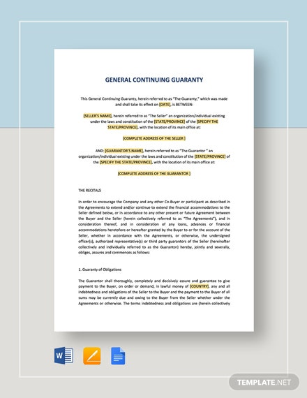General Continuing Guaranty Template