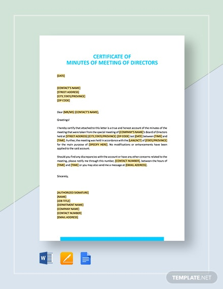 Certificate of Minutes of Meeting of Directors Template