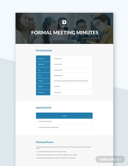 Minutes for a Formal Meeting Template
