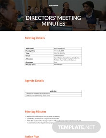 Minutes of Meeting of Directors Template