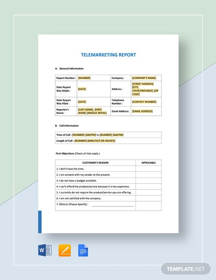 Telemarketing Report Template