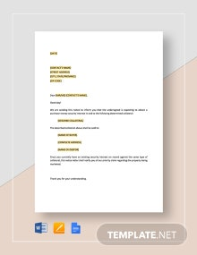 Prior Secured Party Notice Template