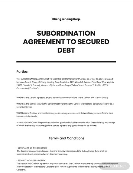 Subordination Agreement to Secured Debt