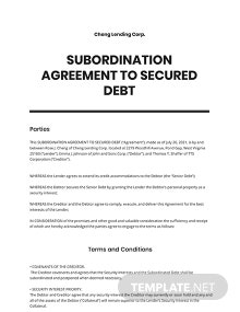 Subordination Agreement to Secured Debt Template