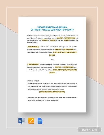 Subordination and Cession of Priority Leased Equipment Template