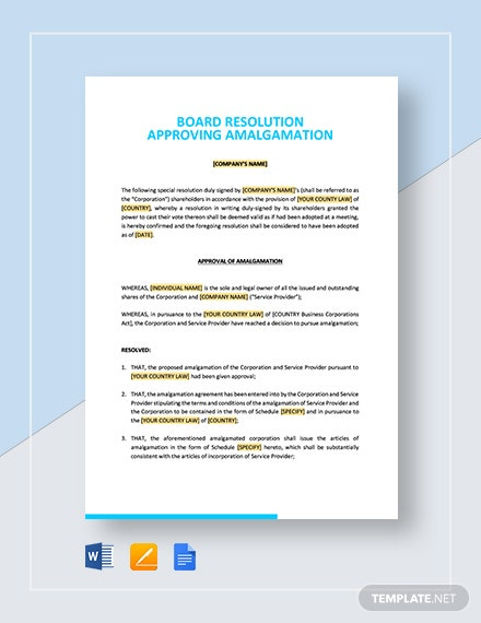 Board Resolution Approving Amalgamation Template