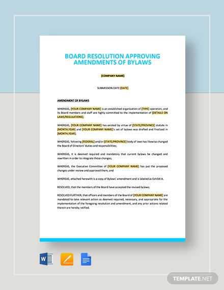 Board Resolution Approving Amendments of Bylaws