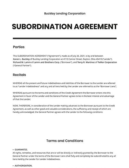Subordination Agreement Template