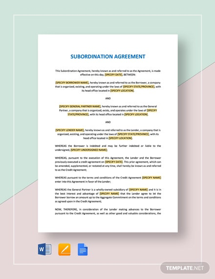Subordination Agreement Template