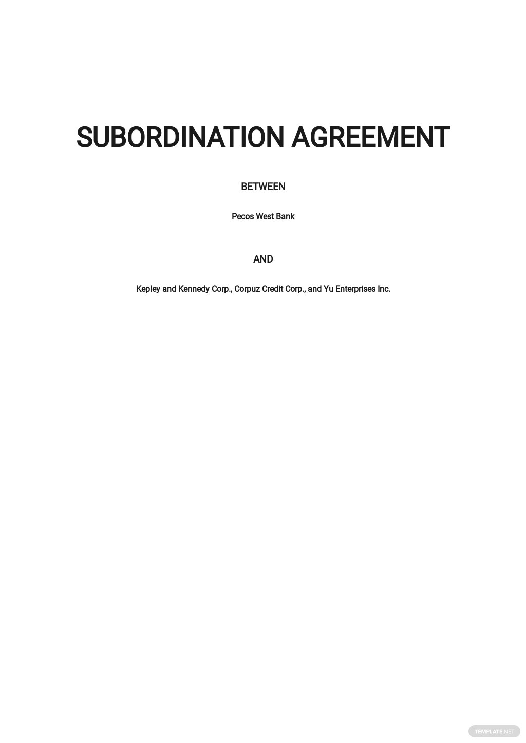 Subordination Agreement Long Form Template