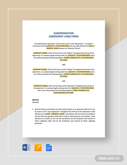 Subordination Agreement Long Form Template