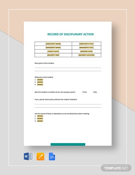 Record of Disciplinary Action and Proposed Changes Template