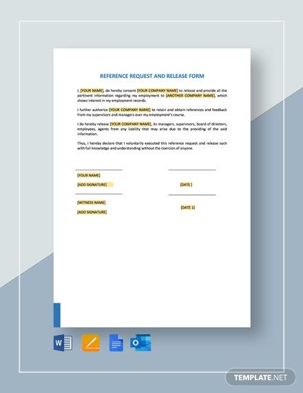 Reference Request and Release Form Template