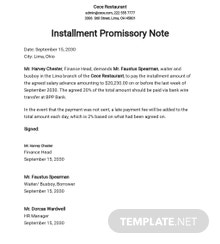 Demand for Payment on Installment Promissory Note Template