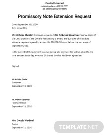 Request for Extension of Time on Promissory Note Template