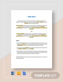 Time Note Template