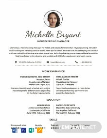 Free Housekeeping Resume Template