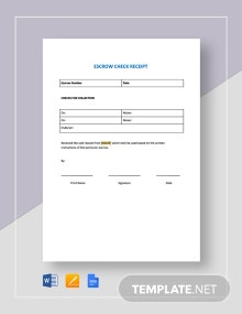Escrow Check Receipt Template