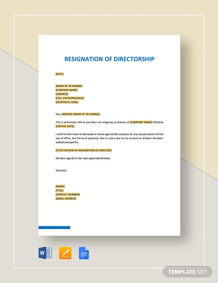 Resignation of Directorship Template