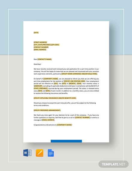 Part-Time-Employment-Offer-Letter Offer Letter Presentation Email Template on template for, example sending, template when sending, acceptance job, format via, how accept job,