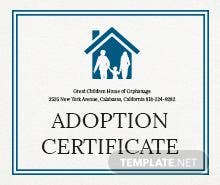Free Adoption Certificate Template