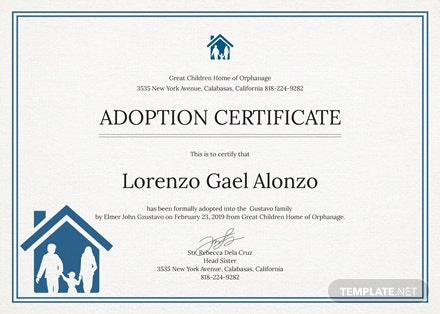 free adoption certificate template download 200 certificates in psd word publisher illustrator indesign pages templatenet - Adoption Certificate Template