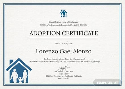 Free Adoption Certificate Template in PSD, MS Word, Publisher ...