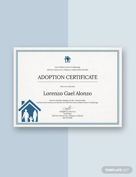 FREE Adoption Certificate Template Download 200 Certificates In