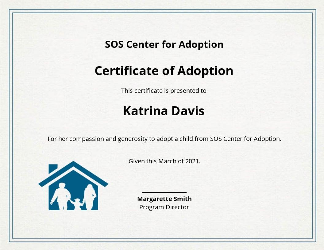 Free Adoption Certificate Template.jpe