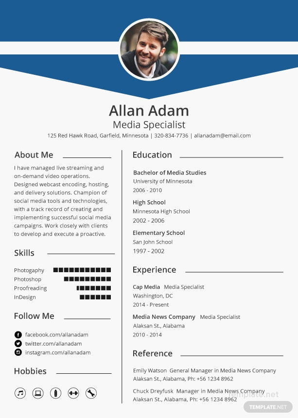 Free Media Resume And Cv Template In Microsoft Word Microsoft