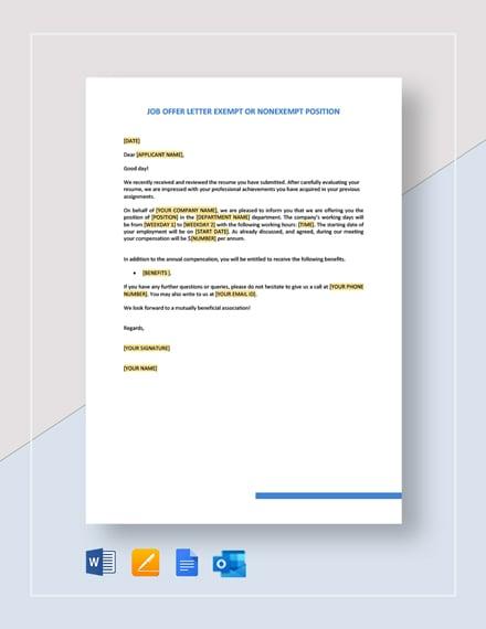 Job Offer Letter - Exempt or Nonexempt Position Template