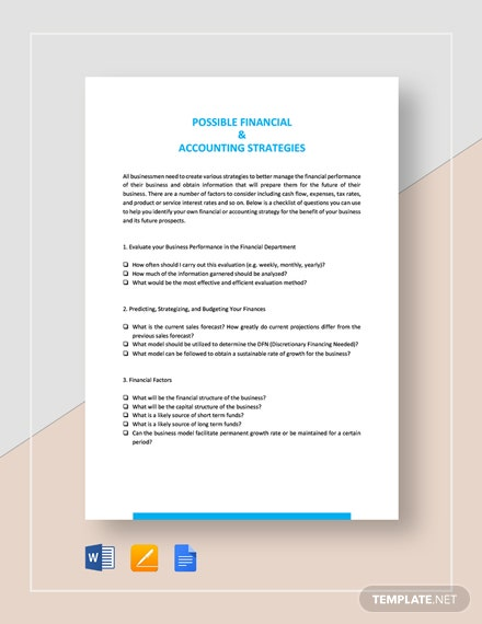 Possible Financial & Accounting Strategies Template