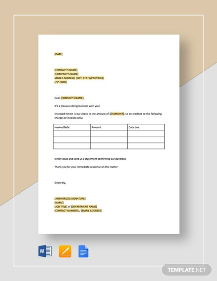 Payment on Specific Accounts Template