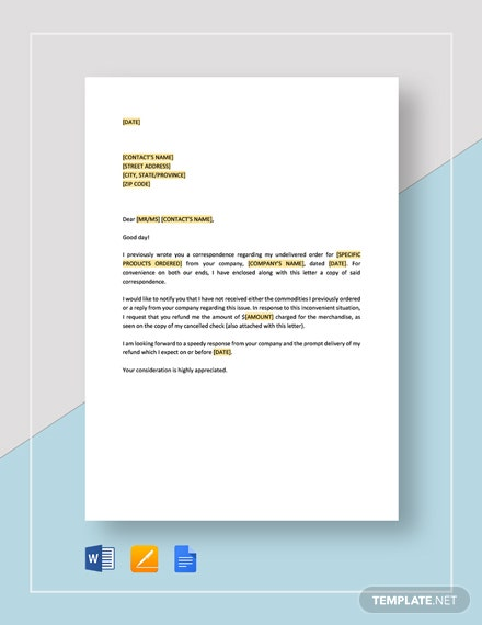 Request-for-Refund-on-Undelivered-Merchandise Offer Letter Template For A Bank Loan on