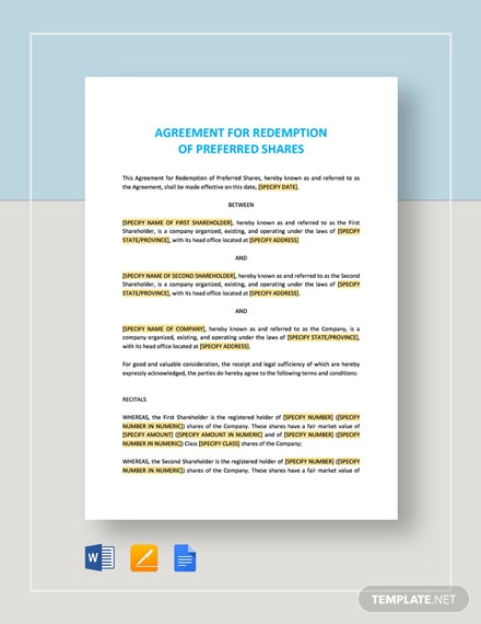Agreement for Redemption of Preferred Shares Template